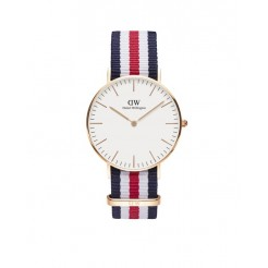 Daniel Wellington Classic Canterbury Dameshorloge 36 mm Blauw/Wit/Rood